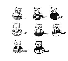 8 different cats in black and white Photographic Print