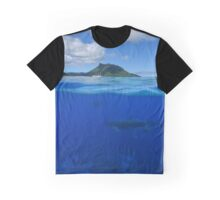 Whales underwater split with island at the horizon Graphic T-Shirt