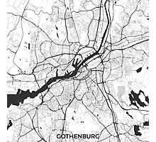 Gothenburg Map Gray Photographic Print