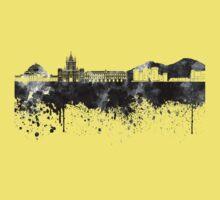Naples skyline in black watercolor Kids Tee