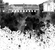 Naples skyline in black watercolor Sticker