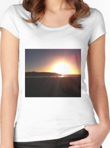 Bright bokeh sunset silhouette Women's Fitted Scoop T-Shirt