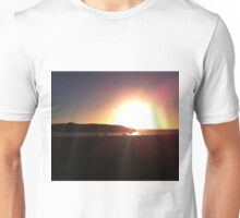 Bright bokeh sunset silhouette Unisex T-Shirt