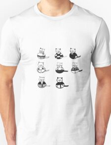 8 different cats in black and white Unisex T-Shirt