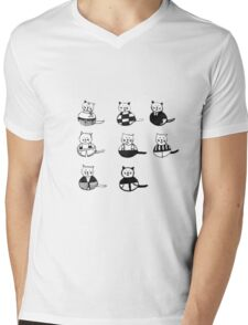 8 different cats in black and white Mens V-Neck T-Shirt