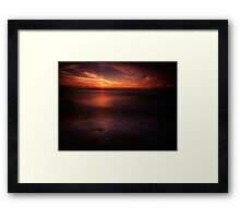 Dramatic sunset over dark water of lake Huron art photo print Framed Print