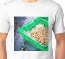 Fresh seafood in boxes at the fish market Unisex T-Shirt