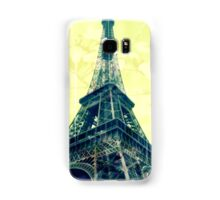 Eiffel Tower Image overlayed with a Lemon Floral Print Samsung Galaxy Case/Skin