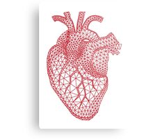 red human heart with geometric mesh pattern Metal Print