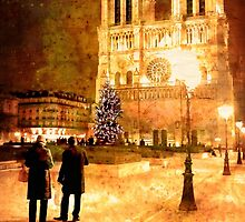Stardust Over Paris - Notre Dame Cathedral by Night by Mark Tisdale