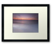 Peaceful sunset scenery with smooth calm water at lake Huron art photo print Framed Print