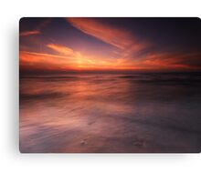 Colorful sunset over water of lake Huron art photo print Canvas Print