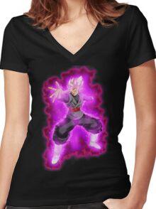 goku black Women's Fitted V-Neck T-Shirt