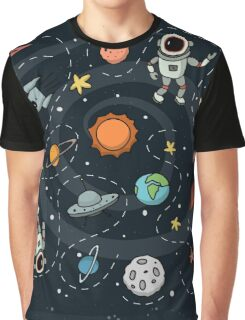 Outer Space Planetary Illustration Graphic T-Shirt