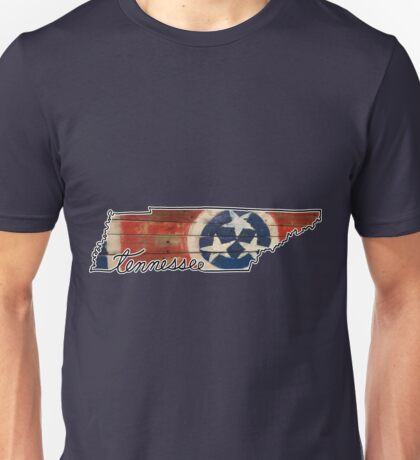 Tennessee State Outline and Flag Unisex T-Shirt