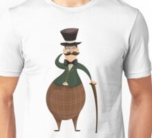 Gentleman with monocle and stick. Unisex T-Shirt
