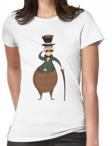 Gentleman with monocle and stick. Womens Fitted T-Shirt
