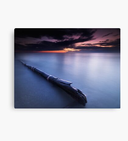 Driftwood in dramatic sunset scenery at lake Huron Grand Bend art photo print Canvas Print