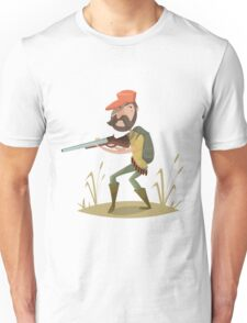 Hunter with gun and backpack.  Unisex T-Shirt