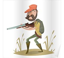 Hunter with gun and backpack.  Poster