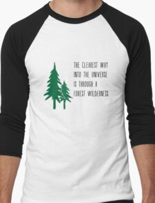 Through a Forest Wilderness Men's Baseball ¾ T-Shirt