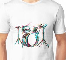 Drum kit with splashes in watercolor style. Unisex T-Shirt