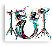 Drum kit with splashes in watercolor style. Canvas Print