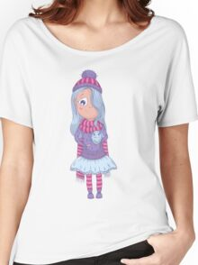 Cute anime girl in tutu and winter clothes with owl. Women's Relaxed Fit T-Shirt
