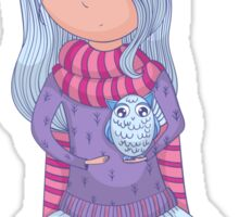 Cute anime girl in tutu and winter clothes with owl. Sticker