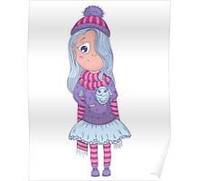 Cute anime girl in tutu and winter clothes with owl. Poster