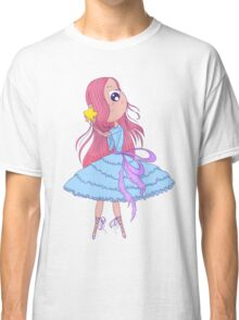 Cute anime ballerina with pink hair in tutu holding in her hands star. Classic T-Shirt