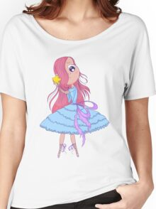 Cute anime ballerina with pink hair in tutu holding in her hands star. Women's Relaxed Fit T-Shirt
