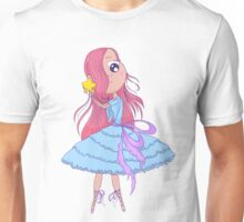Cute anime ballerina with pink hair in tutu holding in her hands star. Unisex T-Shirt
