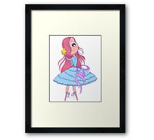 Cute anime ballerina with pink hair in tutu holding in her hands star. Framed Print