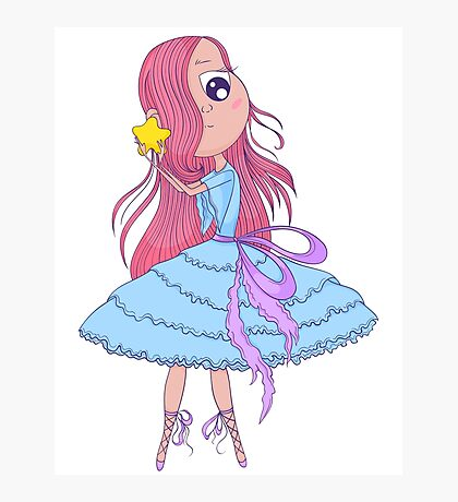 Cute anime ballerina with pink hair in tutu holding in her hands star. Photographic Print