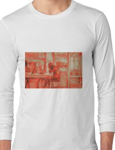Watercolor of girl studying in a cafe or library  Long Sleeve T-Shirt