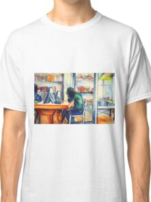 Watercolor of girl studying in a cafe or library  Classic T-Shirt