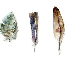 Feather watercolor blue green brown by Zendrawing