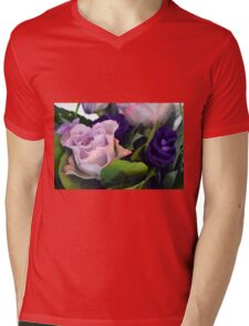 Purple and pink roses closeup  Mens V-Neck T-Shirt