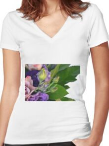 Purple and pink roses closeup  Women's Fitted V-Neck T-Shirt
