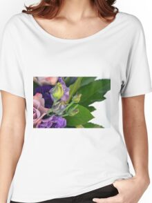 Purple and pink roses closeup  Women's Relaxed Fit T-Shirt