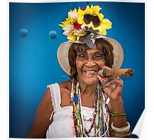 Cigar woman in Havana, Cuba Poster