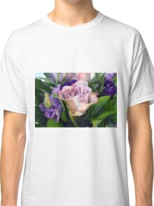 Purple and pink roses closeup  Classic T-Shirt