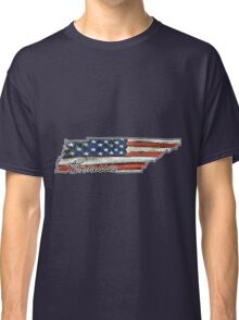 Tennessee State Outline with USA Flag Classic T-Shirt