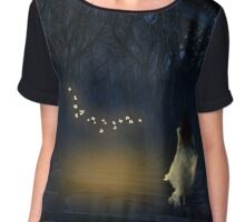 dark hedges night Chiffon Top