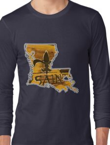 Louisiana State Outline with Saints Long Sleeve T-Shirt