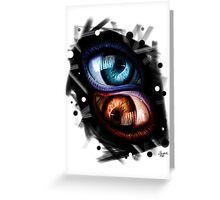 Twins - Red and Blue Eyes Greeting Card