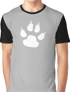 PAW, FOOT PRINT, DOG, CANINE, WHITE PAW, PADS, CLAWS, Cats Paw, Catspaw, Dog Paw, Cat, Dog, Pet, foot, track, scratch Graphic T-Shirt