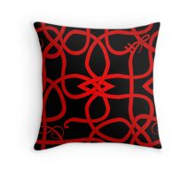 Red Viking Knot Over Black Throw Pillow