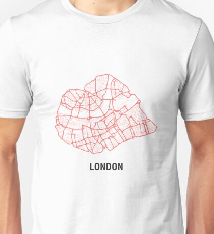 London Heart – hand drawn map of central London Unisex T-Shirt